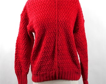 Vintage Hand Knit Cable Knit Cotton Blend Sweater in Lipstick Red by The Limited Circa 1980s.  Size S