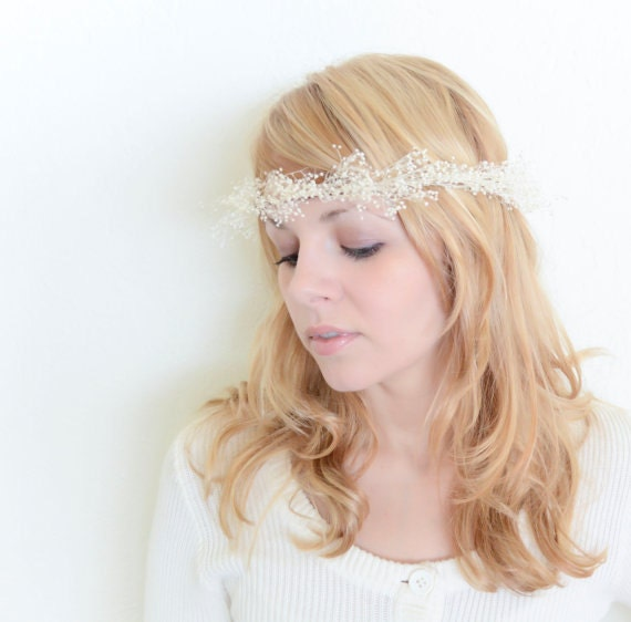 Baby S Breath In Hair: Items Similar To Babys Breath Crown In Ivory