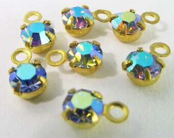 30 Vintage Swarovski Light Sapphire AB 17ss 4mm Crystal Drops Charms Cr39