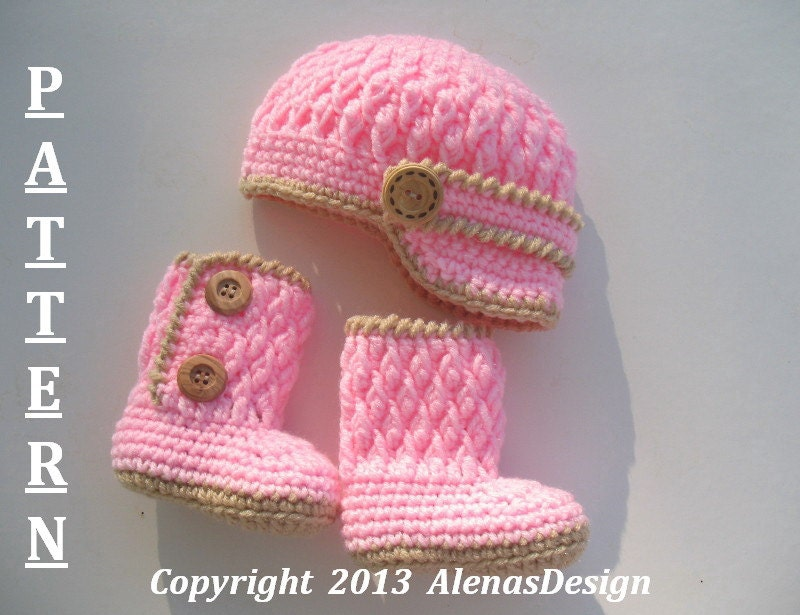 Crochet Baby Girl Boots Pattern : Crochet PATTERN Set Two-Button Baby Booties Baby Visor Hat