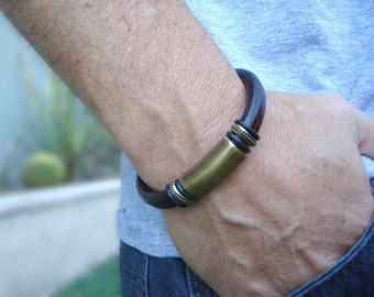 Hatak (Man) - Men's Espresso Licorice Leather Bracelet: Free Shipping. Genuine Leather, Brass-Plated Pewter with Magnetic Clasp.