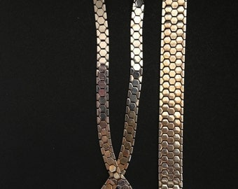 TRIFARI - 1945 GOLD Honeycomb TESSELLATED Necklace & Bracelet