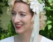 Wax Orange Blossom Bridal Headpiece 1920's Waxed Flower Flapper Bride Lady Mary