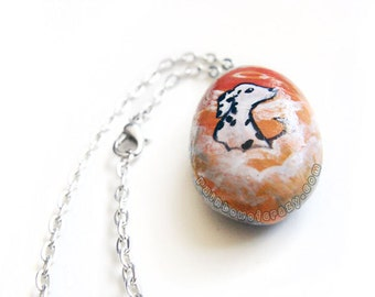 Dalmatian Necklace, Dog Painting, Angel Jewelry, Pet Memorial, Hand Painted Rock Art, Pet Loss Gift for Her, Orange Pendant, Death of Pet