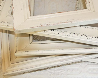 Cream Frame Set Of Three Shabby Chic Vintage Hand Painted Distressed Frames