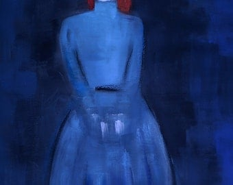 Standing Woman - Large Original Contemporary Painting - Figure Painting - Standing Woman Dressed in Dark Blue - Contemporary art