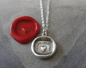 Wax Seal Necklace Heart - One Is Enough For Me - antique wax seal charm jewelry French Love Motto by RQP Studio