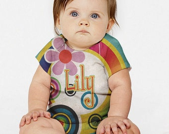 Personalized Baby Girl Shirt, Mod Circles Custom Snap-Shirt Outfit