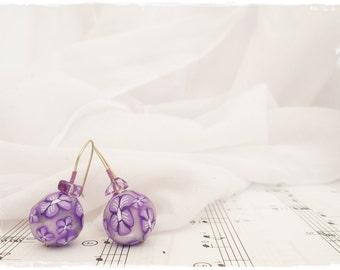 Ball Floral Earrings, Purple Earrings, Polymer Clay Millefiori Earrings, Spring Purple Earrings, Flower Amethyst Earrings, Kawaii Jewelry