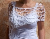 Amannda - White Delicate Openwork Lacey Cotton Silk Poncho by Eva Bella Boutique