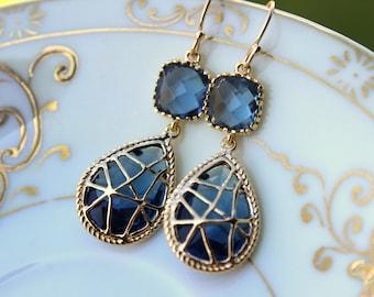 Sapphire Earrings Navy Blue Gold Two Tier Earrings - Navy Wedding Jewelry - Navy Bridesmaid Earrings - Bridal Earrings - Wedding Earrings
