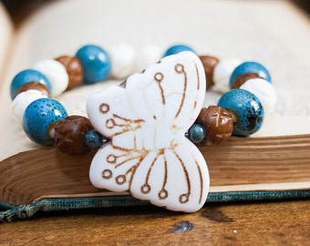 SALE Boho Chic Butterfly Stretch Bracelet Stacking Wood Ceramic Howlite Stone Carved Bone Beads White Brown Blue Fall