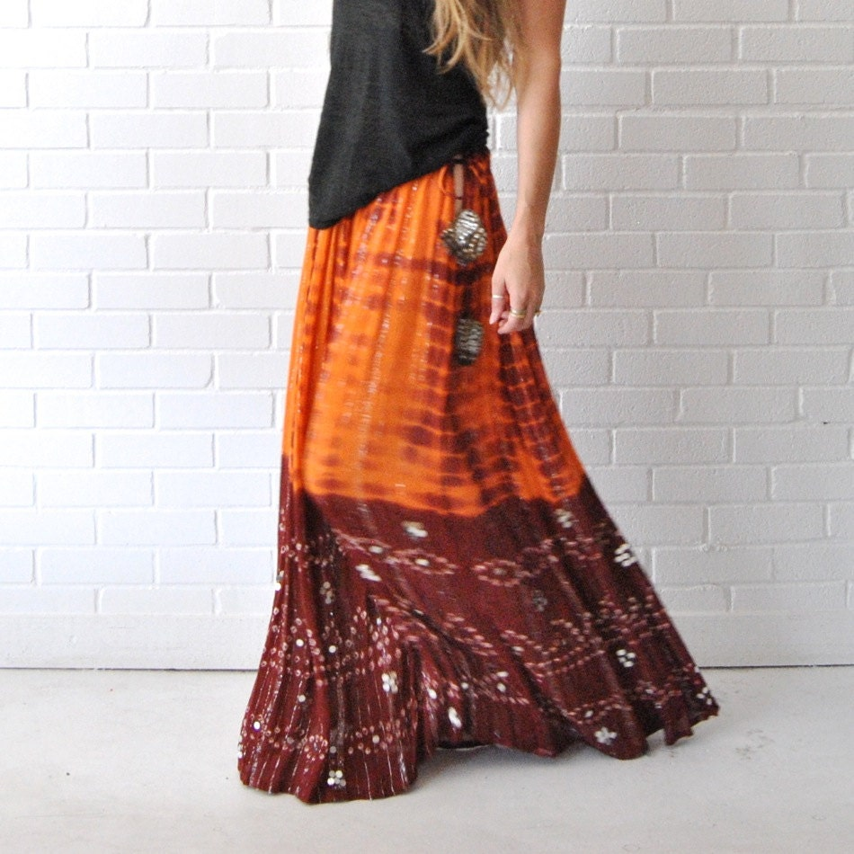 maxi skirt metallic thread bohemian skirt by