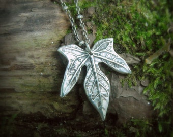 Real Leaf Necklace - Elven Leaf Necklace - Silvan Leaf - Artisan Handcrafted with Recycled Fine Silver - Botanical Jewelery