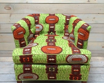 """Green and Orange Rolling """"African"""" Club Chair"""