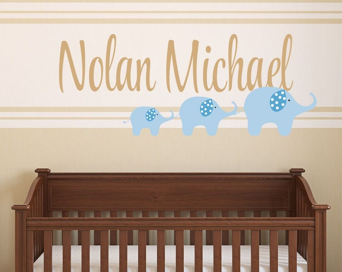 Elephant Wall Decal  - Name Wall Decal - Personalized  Name Decal -   Elephant  Wall Art - Nursery Wall Decals