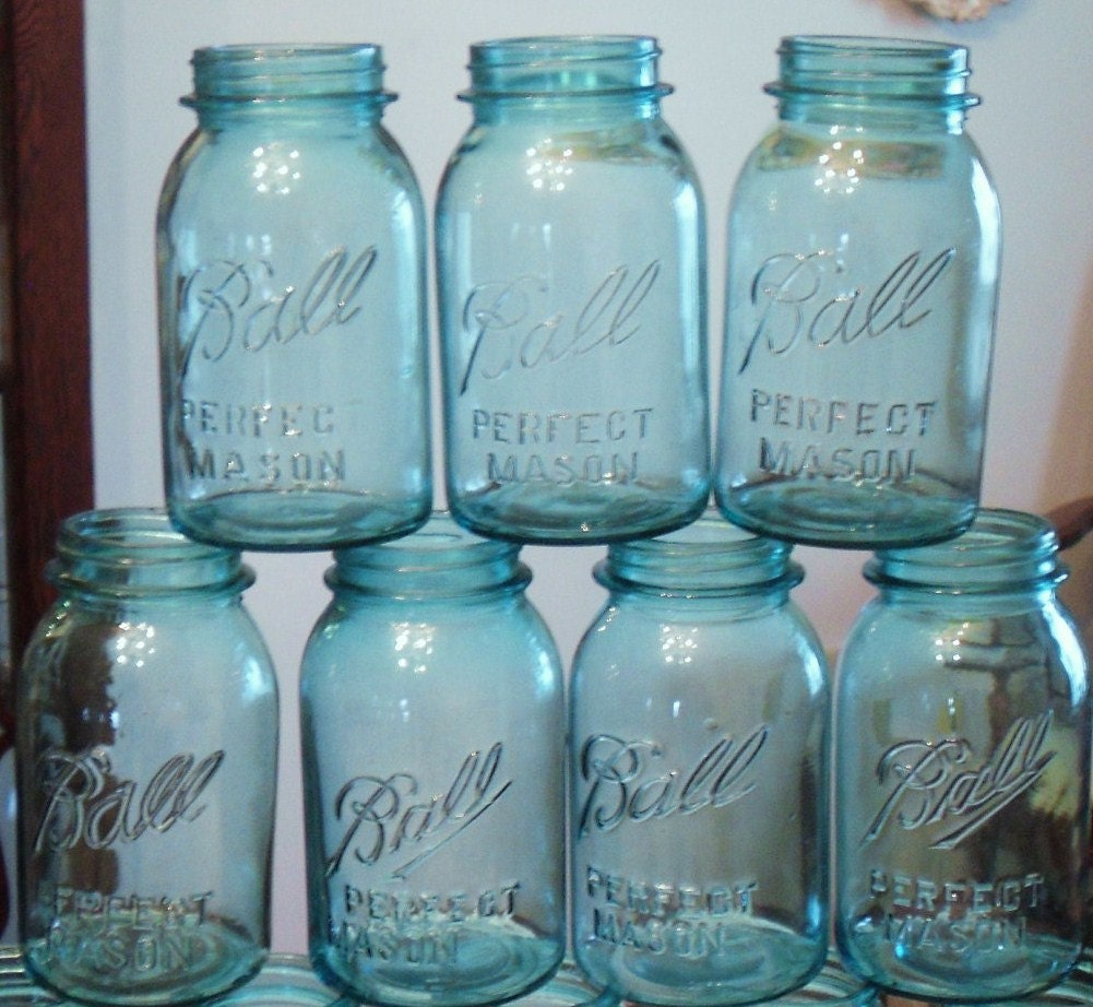 3 antique blue ball jar blue quart jar blue mason jar. Black Bedroom Furniture Sets. Home Design Ideas
