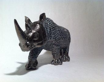 Rhino Sculpture - Wild African Rhinoceros Animal Statue Wildlife Figurine for Home Decor Valentine Gift