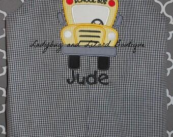 Boy's Black and White Gingham School Bus Jon Jon Shortall Romper Sizes NB - XL, 2, 3, 4