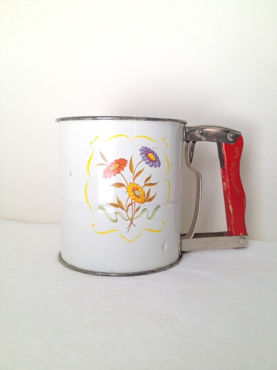 Flour Sifter Vintage Androck Flour Sifter Hand I Sift Red