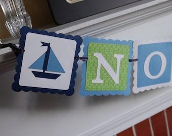 Nautical Name Banner, Sailboat Banner, Nautical Baby Shower, Nautical Birthday, Sailboat Decorations, Sailboat Birthday, Navy Lime Blue