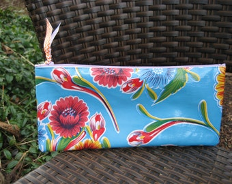 Zippered Oil Cloth Pouch-Blue Floral Cosmetic Bag--Purse Organizer--Pencil pouch