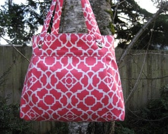 Modern Grommet Pleated Tote Bag or Purse--Ivory Geometric Lattice with Candy Pink Background Fabric