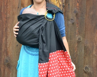 FREE SHIPPING Baby Sling Ring Sling Baby Carrier  2 Layers of High Quality 100% Black Cotton W. Red Polka Dot Tail - Fall In Red