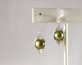 Wire Wrapped Olive Pearl Earrings