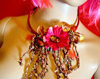 handmade crochet  and bead necklace....pin up,hippie,boho style