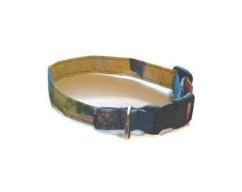 Dog Collar Hand Painted Cotton Small Yellow Blue Adjustable