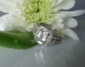 Herkimer Diamond Ring White Gold With White Diamond Accents