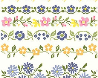 Vintage Floral Cross Stitch Borders Pattern - Instant Download PDF