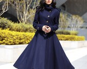 Navy Blue Coat Big Sweep High Collar Women Wool Winter Coat Long Jacket Tunic / Fast Shipping - NC499