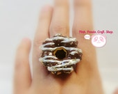 Adorable dark and white chocolate icing pon de ring lightweight paper clay donut adjustable ring