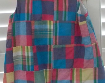 Girl Madras Plaid Toddler Dress Pink Purple