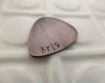Personalized Guitar Pick - Hand Stamped Copper - Personalized Pick - Name Guitar Pick - Copper Guitar Pick - I pick you - Gift for Him