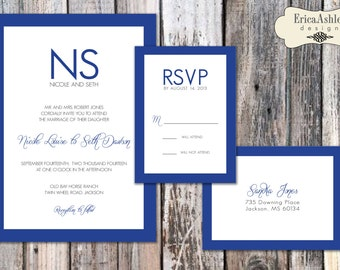Classic Bordered Wedding Invitation - 5 X 7  (Digital File Version Available)