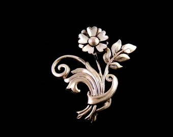 Vintage Brooch Sterling Silver Brooch Lang Flower Brooch Lapel Pin Lapel Flower Womens Jewelry Women Brooch Fine Jewelry Free Shipping