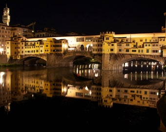 Florence Photography, Ponte Vecchio Bridge, Italy Prints, Yellow Wall Art, Fine Art Photograph, Bridge Picture, Photo of Florence, Italy Art