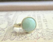 Mint Green Ring Aventurine Gem Stone Ring Sea Foam Pale Light Green Mint Dusty Modern Simple Classic Classy Minimal Precious Stone Jewelry