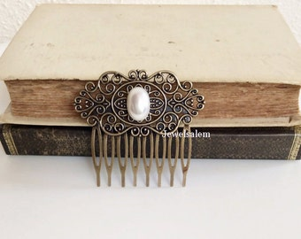 Wedding Hair Accessories White Pearl Hair Comb Modern Victorian Hair Slide Vintage Inspired Bridesmaids Bridal Comb Antique Brass Woodland