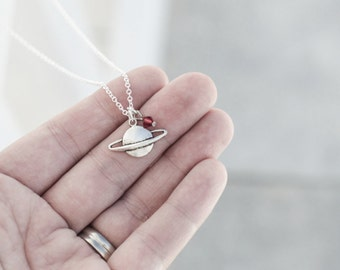 Saturn Necklace- Globe Necklace- Red and Silver- Jewelry- Natural Beauty- Galaxy- Solar System- Planet- Under 20- Sterling Silver Chain