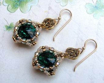 Green Rivoli Earrings, Swarovski Earrings, Green Earrings, Irish Earrings, St. Patrick's Day Earrings, Holiday, St. Patrick's Day Jewelry