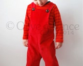 Baby overalls dungarees babies red cotton clothing fire engine mushroom toadstool fancy dress first birthday present gift