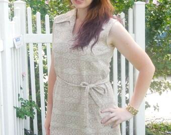 1960s Beige Belted Day Dress