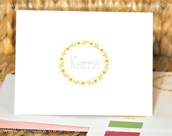 Floral Sationery, Kerrie In A Ring, Choose Font & Colors, Set of 12 Folded Cards, Gifts under 25