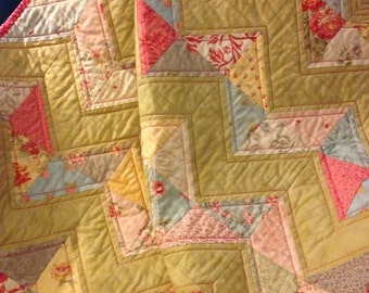 """A Soft Palette 36"""" X 40"""" Zig Zag Quilt In The Line Called Oasis By 3 Sisters For Moda"""