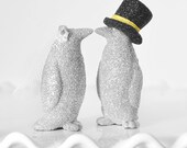Custom Personalized Wedding Cake Topper Kissing Penguins in Silver Glitter and Personalized Accessory Colors to Fit Your Wedding Theme Decor