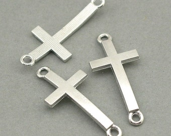 Curved Cross Charms Links Antique Silver 4pcs base metal beads 17X37mm CM0515S